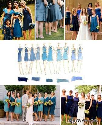 Multicolored dresses or different shades of green wedding Bmdresses