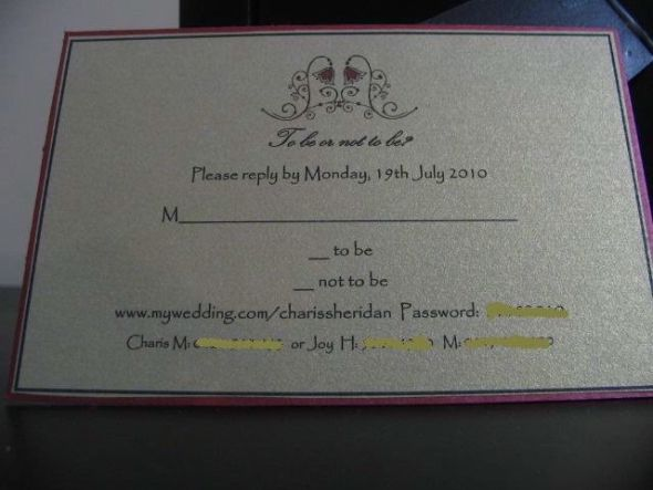 Post your response cards or wording for them wedding RSVP