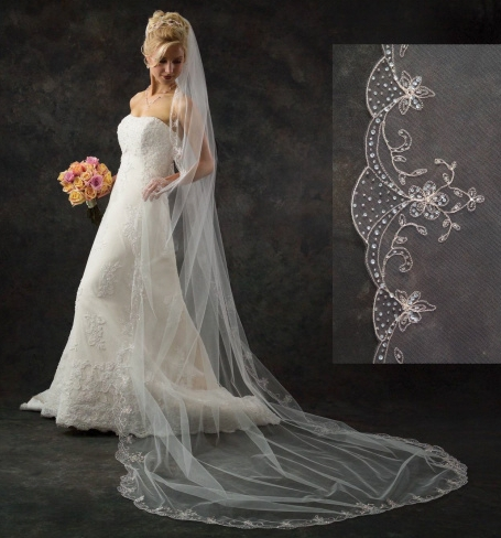 Ilonas Blog Ivory Cathedral Length Veil With Beaded Trim Or Lace Wedding 139 Cathedral