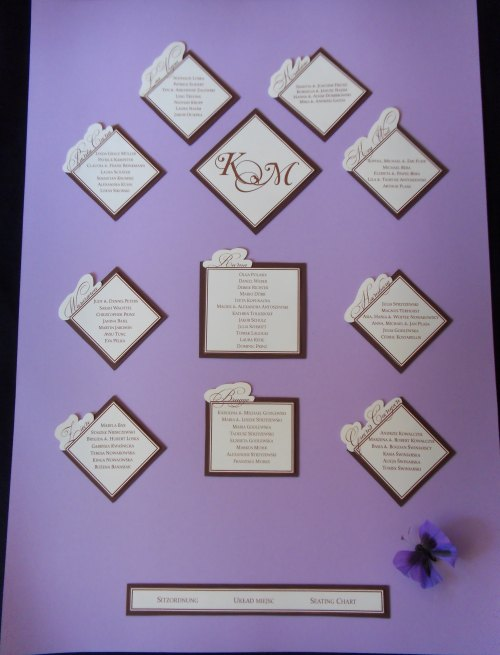 Miss International 39s Seating Chart wedding seating chart brown purple