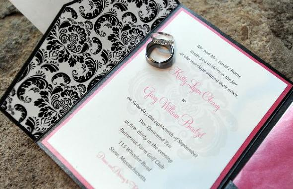 Diy Damask And Pink Invitations Wedding Black