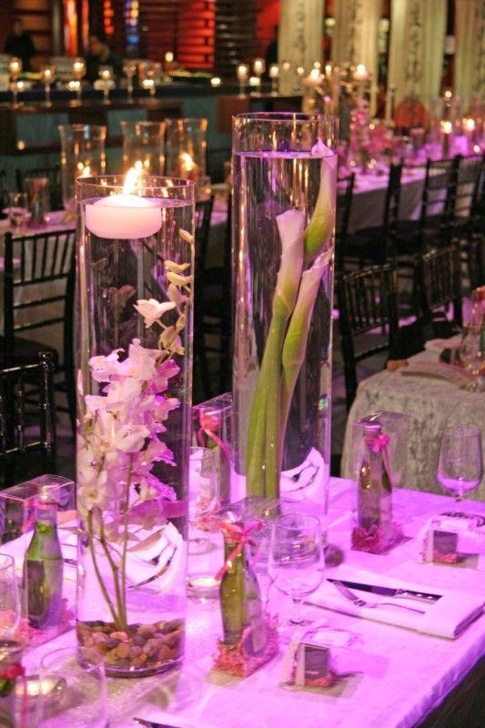 wedding gladiolus gladioli centerpiece submerge flowers Submerged With Rocks