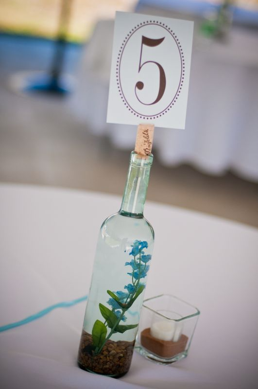 wine bottle centerpiece wedding centerpiece blue brown Bride And Groom 294