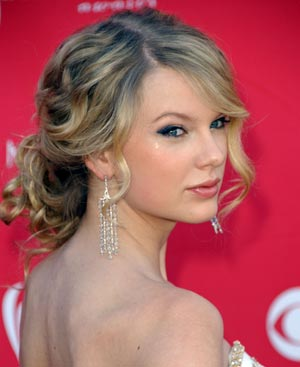 Romantic, soft, curly updos...Let's see your photos! :  wedding curly hair fine pictures romantic soft updo 5989 Taylor Swift Updo