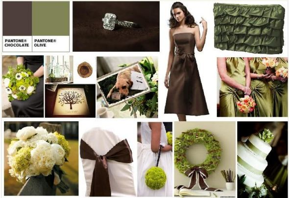 Wedding Colors wedding Board Fern olive green Chocolate brown Laughing