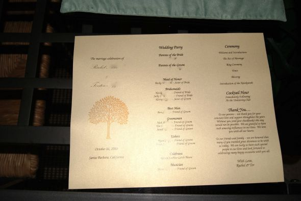 Trifold programs wedding