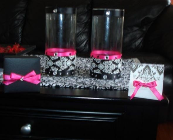 Centerpieces Almost Finished wedding damask centerpieces hot pink