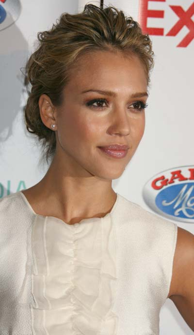 for anyone wearing a headband... :  wedding hair Jessica Alba Loose Low Chignon Hairstyle 4 09