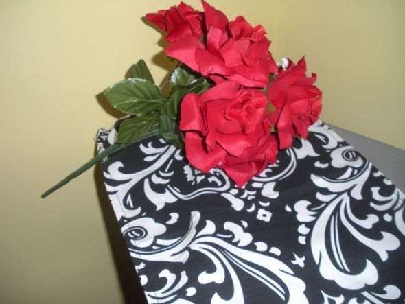 FS Silk Red Roses Black Red Centerpieces wedding flowers reception