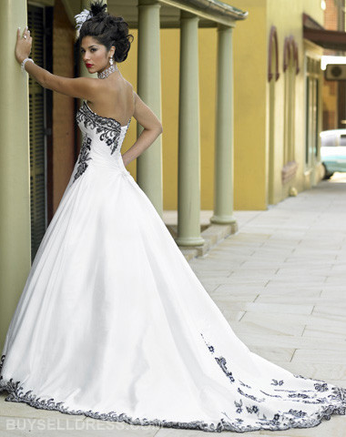 White wedding gowns with black accents for White dress after wedding