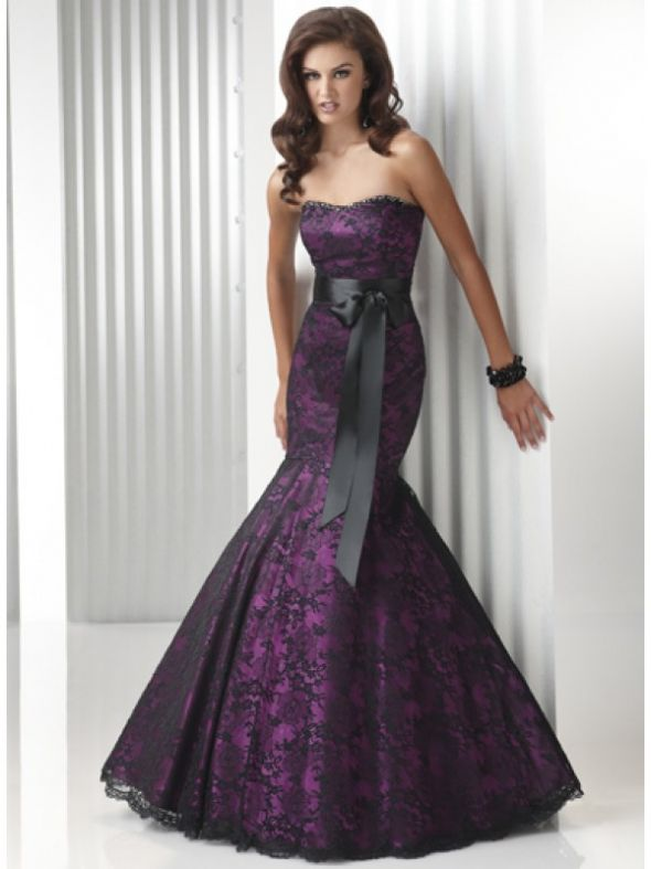Evening gowns / purple lace mermaid style – suggestions where to buy?