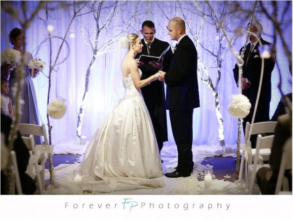 Winter wonderland ceremony what kind of tree to buy for All white wedding theme pictures