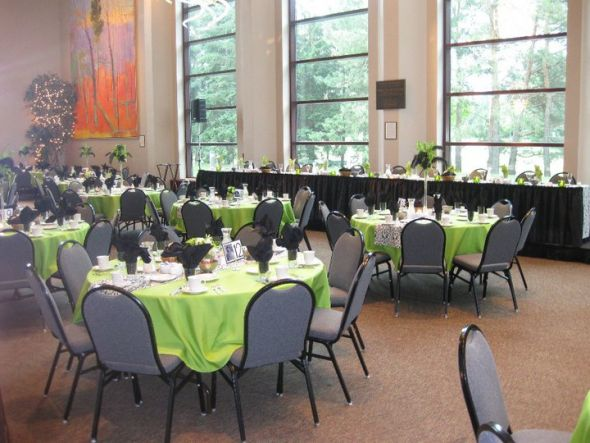 Lime bright green tablecloths black and white damask runners wedding