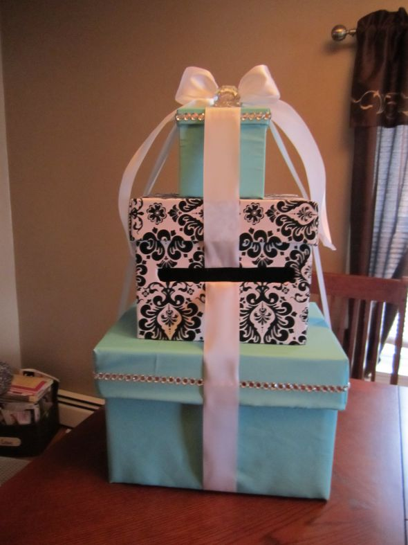 DIY Tiffany Damask Cardbox wedding damask tiffany cardbox ring teal blue