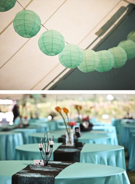 Turquoise Tablecloths Designer Runners and Cube Vases wedding turquoise
