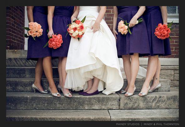 Orange Wedding What color flowers go with Lapis Dark Purple wedding