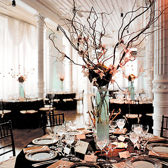 Red winter wedding centerpieces
