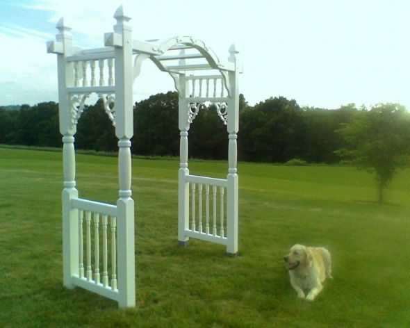 Outdoor ceremony show me your focal point wedding Arbor 1 year ago