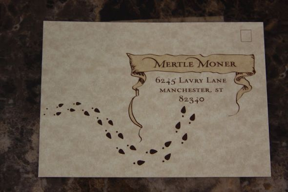 I ordered a sample of the Marauders Map invitation Picture Heavy