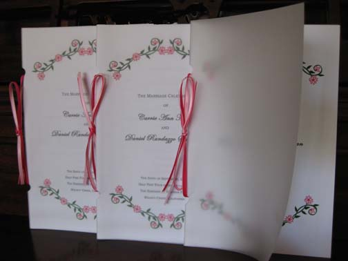 Programs with vellum cover wedding program vellum ribbon clip art pink