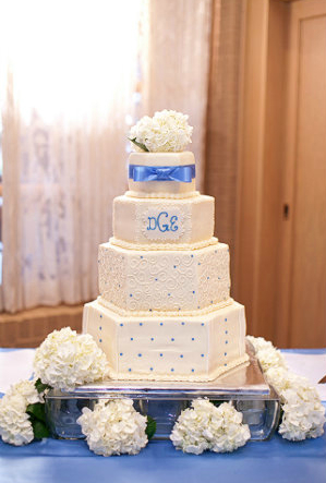 Our Cake! :  wedding blue cake white Cake Table