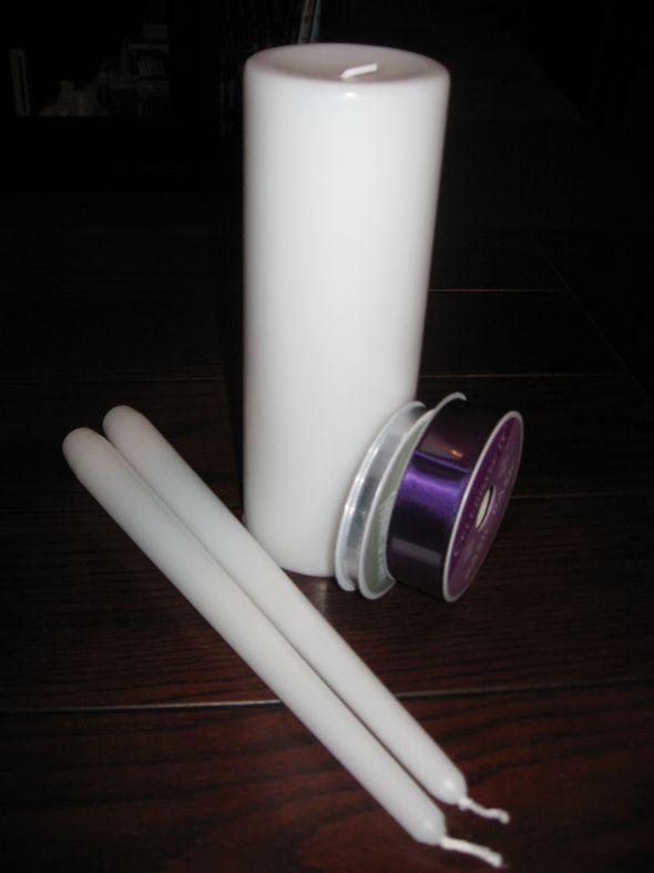 Unity Candle :  wedding candle unity black purple white silver ceremony diy IMG 2679