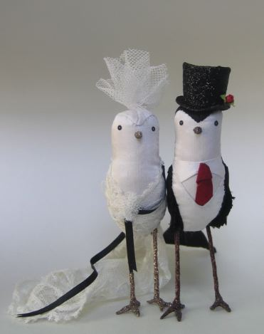 Cake Topper Love :  wedding cake topper penguin purple Blackwhitetopper