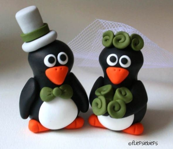 Cake Topper Love :  wedding cake topper penguin purple Il Fullxfull.179142242