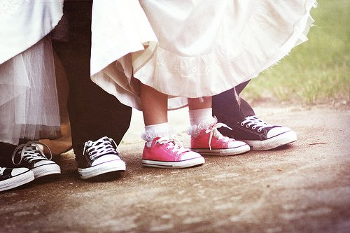 All Stars for the Bride :  wedding sneakers reception Pink Converse Flower Girl