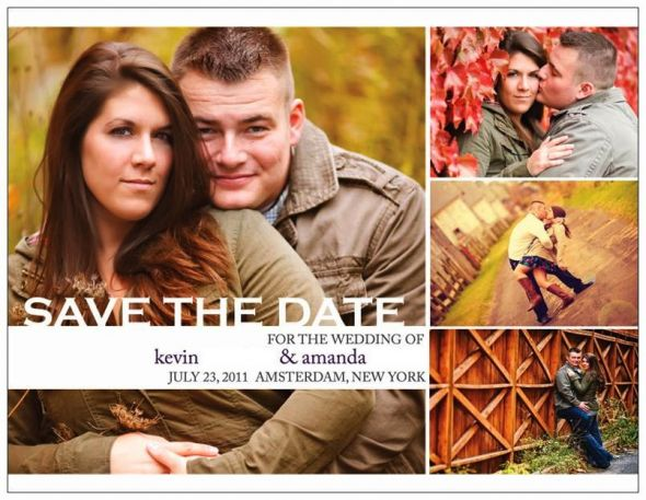 DIY Save the Dates :  wedding purple silver engagement diy Postacrd Front
