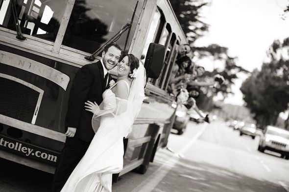 All Aboard! :  wedding transportation trolley Sb Mt Carmel Wedding 115