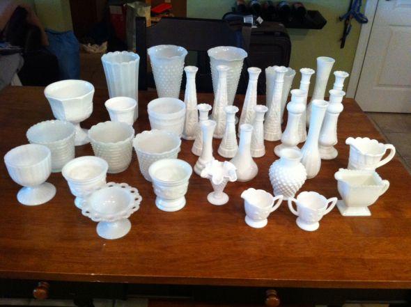 Lot Of Milk Glass Vases For Sale Vintage Shabby Chic Garden