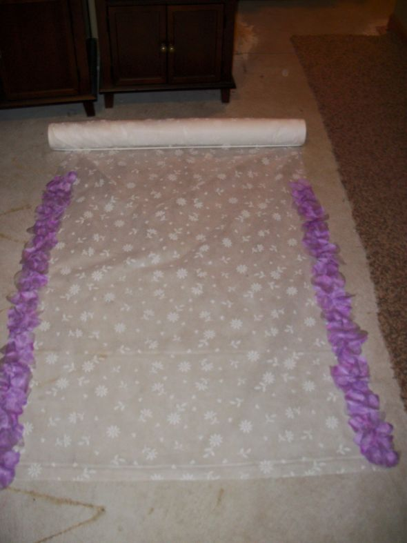 flower petal lined aisle runner