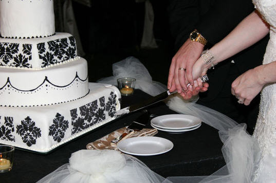 Black and White Damask Cake wedding cake damask cake topper Cutcake