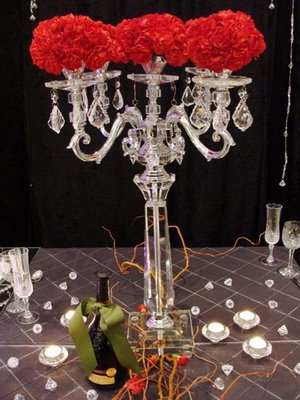 wedding centerpieces ivory reception Crystal Candelabra 2009