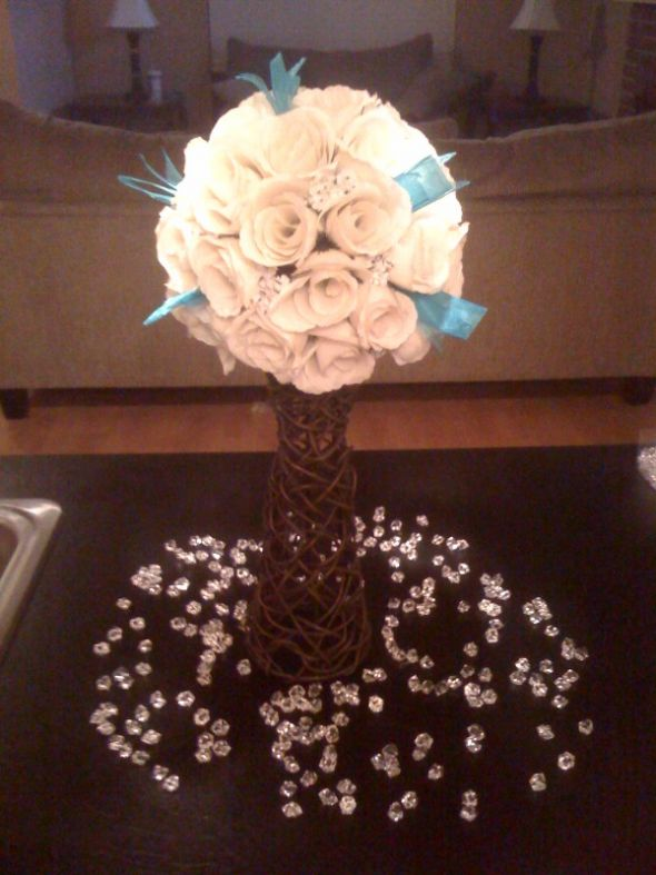 Pomander Centerpiece wedding centerpiece pomander tiffany blue Center