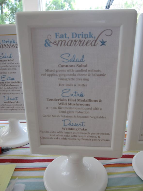 Menu for beach wedding