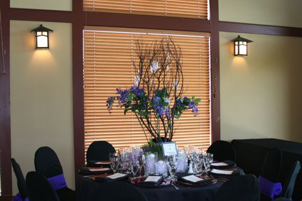 centerpieces for medestoca 21 to see wedding black brown purple ceremony