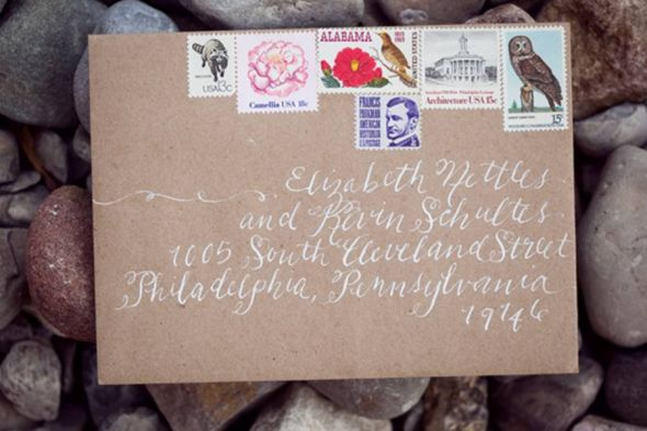 Vintage stamp wedding invitation Has a totally vintage feel