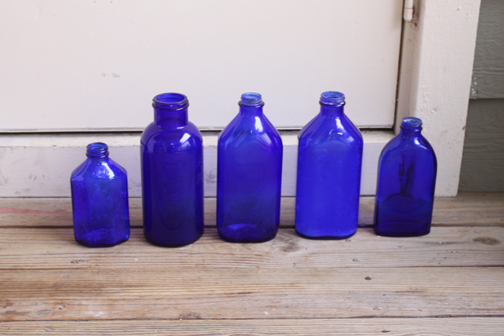 Vintage Cobalt Blue Glass Bottles for Wedding Decorations wedding blue