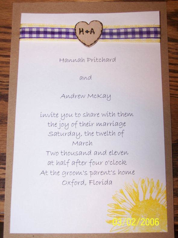 DIY Country Wedding Invite wedding purple yellow Invite