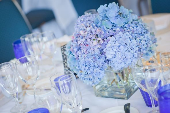 Here are a few shots of our blue hydrangea centerpieces at our luncheon