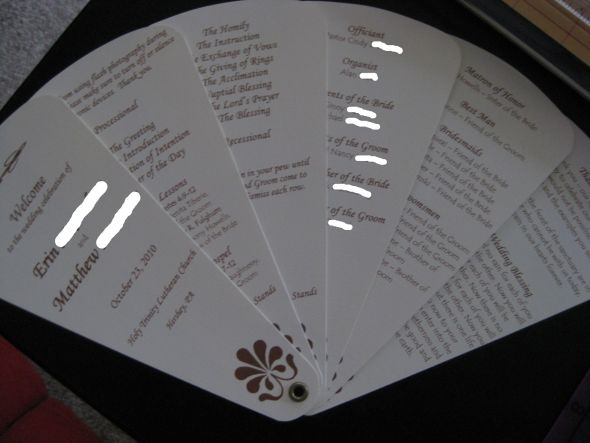 Fan Programs wedding program brown ivory ceremony diy 012 2 2