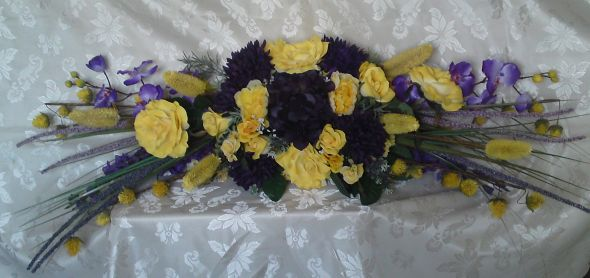 yellow and purple silk arch swag 28 wedding arch flowers silk