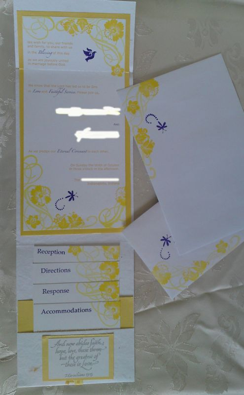 Purple and yellow DIY double pocket invites wedding