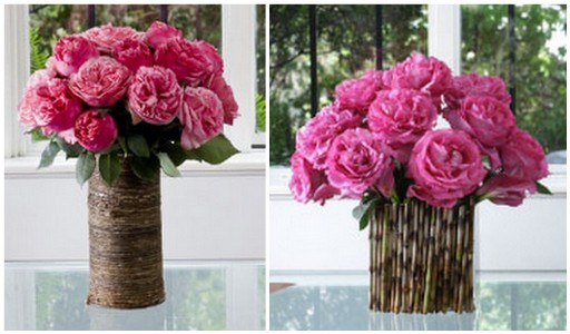 rustic vintage country centerpiece wedding Roses In Wood Bamboo