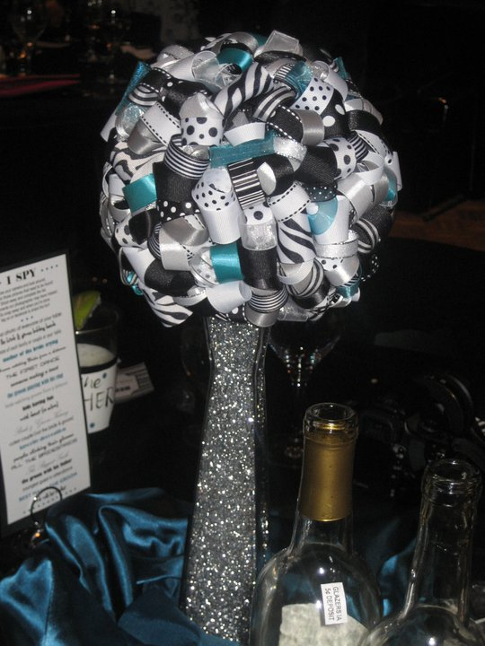 wedding centerpiece ribbon pomander diy teal black white reception