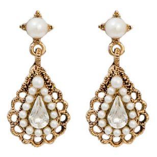 Big goldpearl earrings aloadofball Images