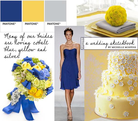 Bridesmaid Dress Colors for October wedding wedding Cobalt Blue Yellow