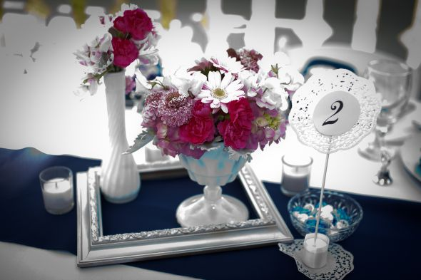 silver painted frames :  wedding diy flowers frames navy pink reception silver spraypainted white IMG 0215